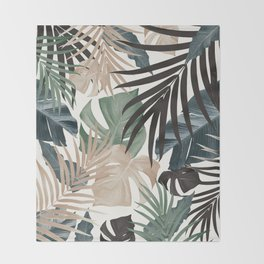 Tropical Jungle Leaves Pattern #13 (Fall Colors) #tropical #decor #art #society6 Throw Blanket