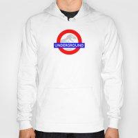 jurassic park Hoodies featuring LONDON UNDERGROUND : JURASSIC PARK SERVICE by DrakenStuff+