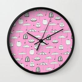 Happy Umbrellas Pattern - pink Wall Clock