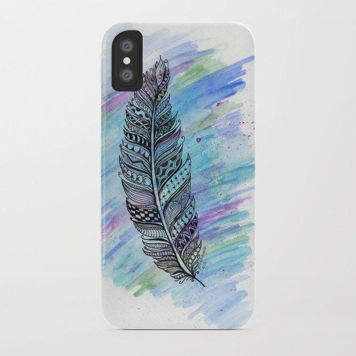 zentangle doodle watercolor feather iPhone Case