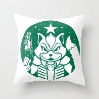 starfox Throw Pillows featuring Starfox Coffee by Jimiyo