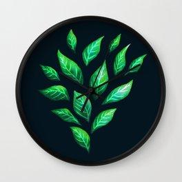 Dark Abstract Green Leaves Wall Clock