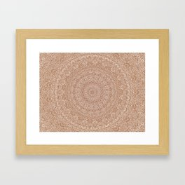 The Most Detailed Intricate Mandala (Brown Tan) Maze Zentangle Hand Drawn Popular Trending Framed Art Print