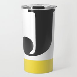 Monogram Letter J-Pantone-Buttercup Travel Mug