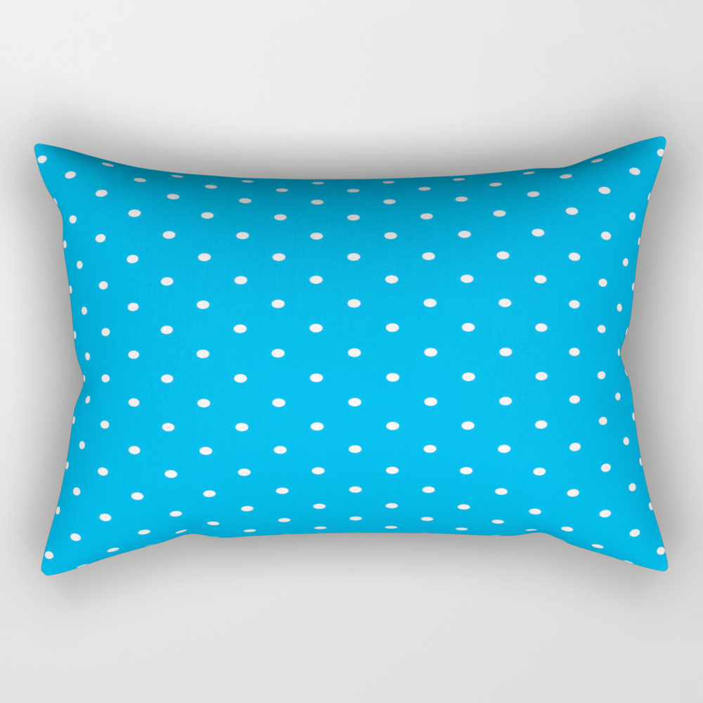 Small White Polka Dots With Blue Background Rectangular Pillow RPW8673878
