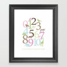 Animal Numbers -  Brooke colorway Framed Art Print