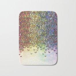 rainbow of butterflies aflutter Bath Mat