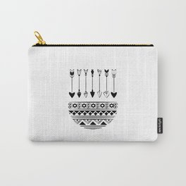 Boho Abstract Black And White Arrows Carry-All Pouch