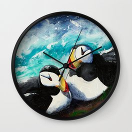 Puffins - Always together - by LiliFlore Wall Clock