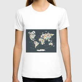 Cartoon animal world map for kids, back to schhool. Animals from all over the world T-shirt