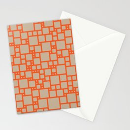 abstract cells pattern in orange and beige Stationery Cards