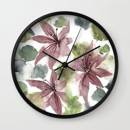 Watercolor Jacinto Flowers Wall Clock