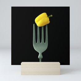 Yellow Pepper on Giant Fork Mini Art Print