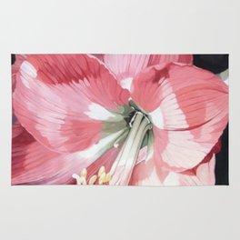 Pink Amaryllis Watercolor Botanical Garden Flower Painting Nature Art Rug