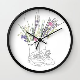 flowers sneakers v2 white Wall Clock