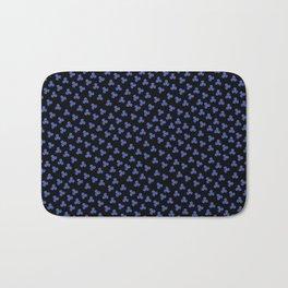 Blue Triskele on Black Pattern Bath Mat