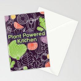 Plant Powered Kitchen Veggie Pattern Background Stationery Cards