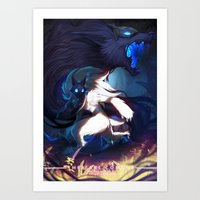 league of legends Art Prints featuring League of Legends - Kindred by dNiseb