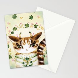 Poe: Heart of my Heart, St. Paddy's Day Cat, lucky charm Stationery Cards