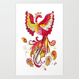 Watercolor Firebird Phoenix Fantasy Bird with Red Pink Yellow Feathers Art Print