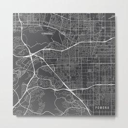 Pomona Map, USA - Gray Metal Print