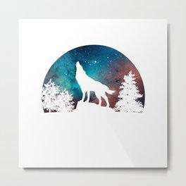 Wolf Howling Moon Love Wolves Cosmic Space Galaxy Women Men T-Shirt Metal Print
