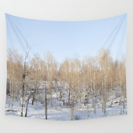 Snowfall and treetops Wall Tapestry
