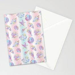 Pastel Rainbow Mermaid Seashells Stationery Cards