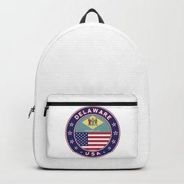 Delaware, Delaware t-shirt, Delaware sticker, circle, Delaware flag, white bg Backpack