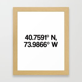 Coordinates of the Richard Rogers Theater - Home of Hamilton: The American Musical Framed Art Print