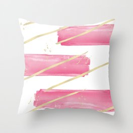 Pink Girly Watercolor Brushstrokes Gold Stripes Throw Pillow
