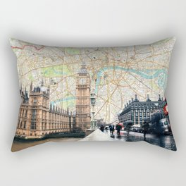 Map of London, England Skyline of Big Ben and Parliament Rectangular Pillow