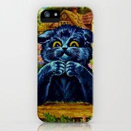 Black Cat  In Garden - Louis Wain Cats iPhone Case