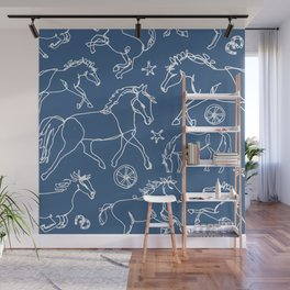 Galloping Horses, White on Navy Blue Wall Mural