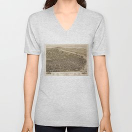 Vintage Pictorial Map of Chattanooga (1886) Unisex V-Neck