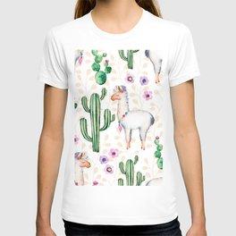 Cactus Flowers & Cute Lama pattern Illustration T-shirt