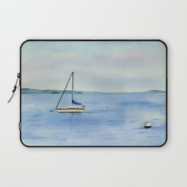 Boat in Maine Watercolor Painting Laptop Sleeve