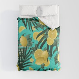 Summer Lemon Twist Jungle #1 #tropical #decor #art #society6 Comforters