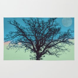 Teal and Aqua Abstract Moonlit Sky Tree Landscape A325 Rug