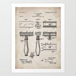 Razor Patent - Barber Art - Antique Art Print