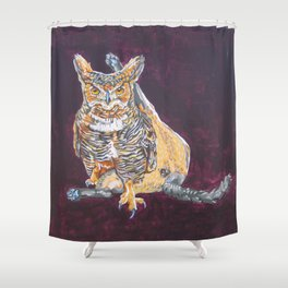 Owl Cat Shower Curtain