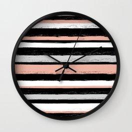 Stripes - Peach Grey Black White Wall Clock
