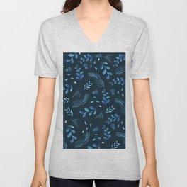 Modern dark blue leaf floral botanical watercolor pattern Unisex V-Neck