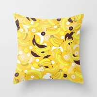 banana Throw Pillows featuring Banana by Ornaart