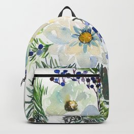 white flowers and blue berries Backpack