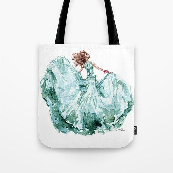 Fashion Blue Turquoise Teal Dress Girl Tote Bag