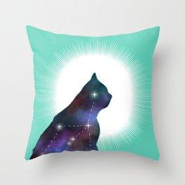 Nebula cat Throw Pillow