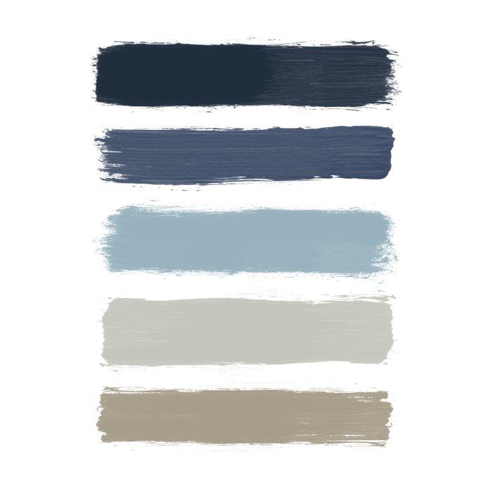 Blue & Taupe Stripes Duvet Cover