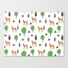 Xmas Deer Pattern Canvas Print