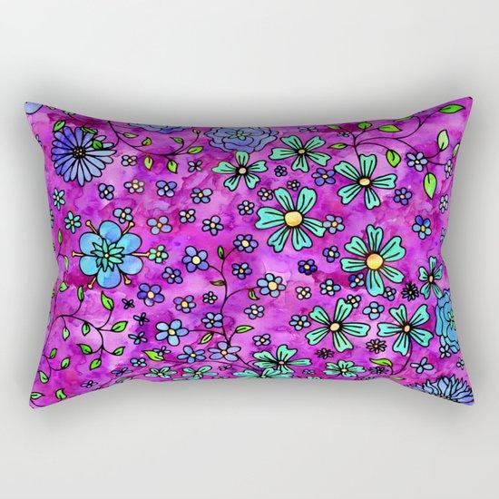 Blue Small Flowers Rectangular Pillow